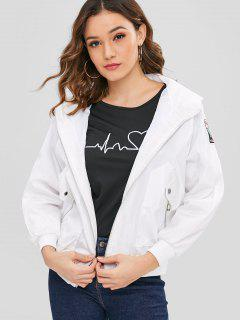 Hooded Embroidered Zipper Jacket - White M