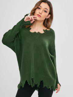 Suéter De Gran Tamaño Drapeado Con Cuello En V - Verde De Bosque Oscuro