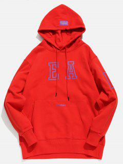 Candy Color Kangaroo Pocket Hoodie - Lava Red M