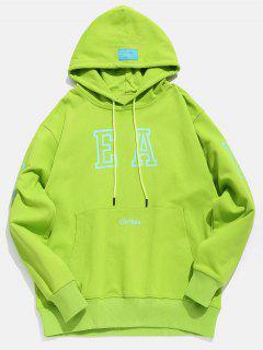 Candy Color Kangaroo Pocket Hoodie - Yellow Green M