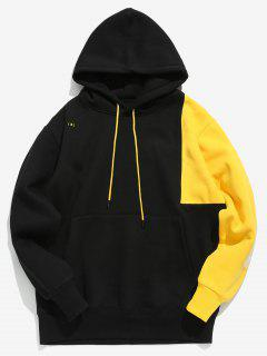 Hit Color Splicing Hoodie - Black Xl