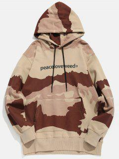 Letter Print Camouflage Hoodie - Puce L