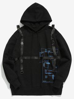 Detachable Safety Belt Embellished Hoodie - Black 2xl