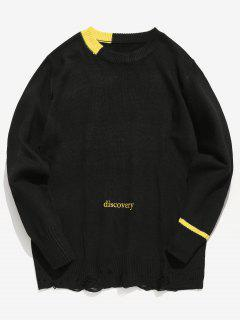 Letter Embroidery Ripped Sweater - Black L