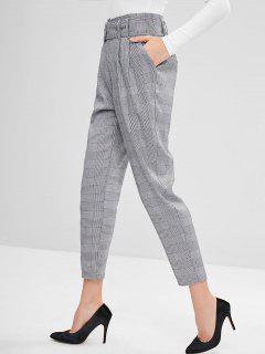 Pantalones Rectos A Cuadros Con Cinturón - Negro L