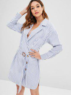 Buttoned Striped Belted Blazer Dress - Sky Blue L