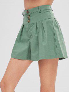 Three Buttoned High Waisted Shorts - Hazel Green M