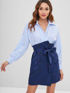 Long Sleeve Striped Two Tone Mini Dress - Multi M