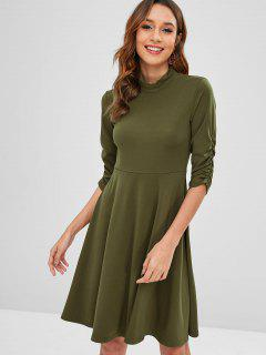Mock Neck Ruched Sleeve Skater Dress - Army Green L