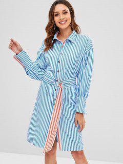 Side Slit Striped Belted Dress - Blue M