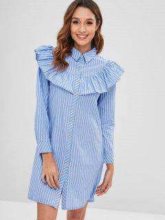 Ruffle Striped Shirt Dress - Light Blue M