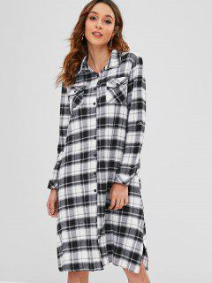 Cuffed Sleeves Side Slit Plaid Dress - Black L