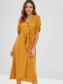 Robe Mi-Longue Taille Nouée Avec Bouton Volant - Orange D'or Xl