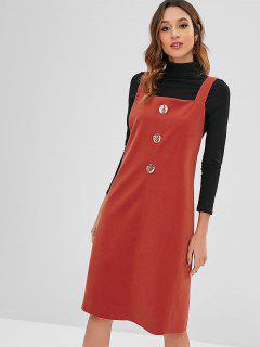 Vestido De Delantal Sin Mangas Con Dobladillo Crudo - Castaño Rojo M