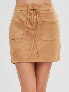 Pockets Lace Up Faux Suede Skirt - Tan S