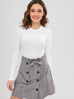 Snap Button Plain Bodysuit - White M