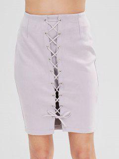 Plain Lace Up Faux Suede Skirt - Light Gray L