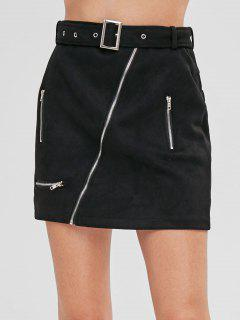 Asymmetric Zipper Faux Suede Belted Skirt - Black M