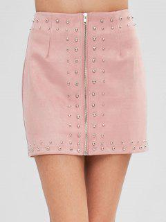 Rivet Embellished Mini Faux Suede Skirt - Pink L