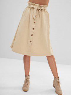 Belted High Waisted A Line Skirt - Light Khaki