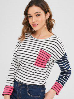Striped Contrast Pocket Tee - White M