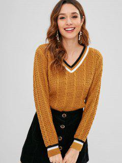 Cable Knit Contrast Trim Sweater - Light Brown