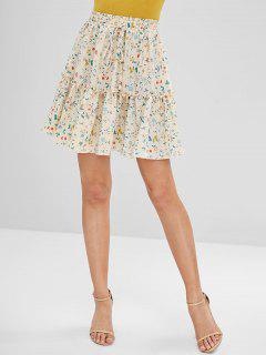 Floral Frilled Mini Skirt - Cornsilk L