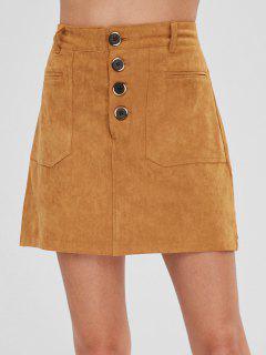 Half Buttoned Faux Suede Mini Skirt - Tiger Orange M