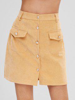 Button Front Corduroy Pockets Skirt - Sun Yellow L