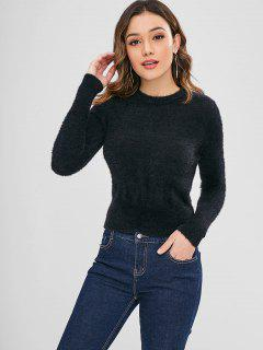 Plain Crew Neck Sweater - Black M