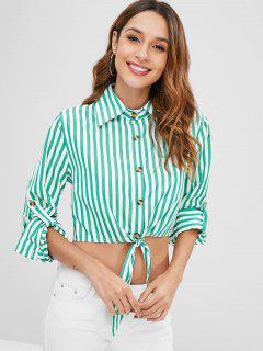 Cuffed Sleeves Striped Knotted Shirt - Green Xl