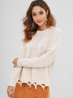 Cable Knit Destroyed Sweater - Warm White