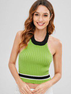 Gestreifter Pullover Mit Rundhalsausschnitt - Grüne Erbsen M