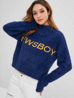 Brief Graphic Mock Neck Fuzzy Sweater - Mitternacht Blau
