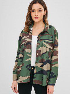 Chemise Camouflage Haut Bas Avec Poche à Rabat - Camouflage Des Bois S