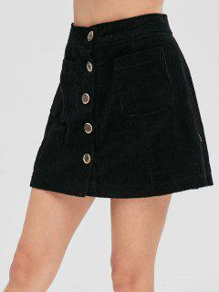 Button Up Corduroy Mini Skirt - Black L