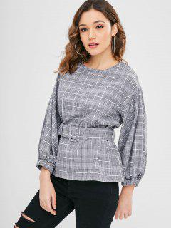 Belted Plaid Blouse - Black M
