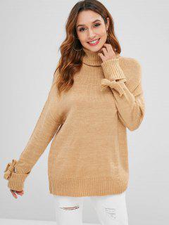 Suéter Con Cuello Alto Y Mangas Anudadas - Tan L