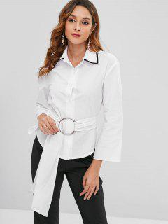 Button Up Shirt With O-ring Belt - White M