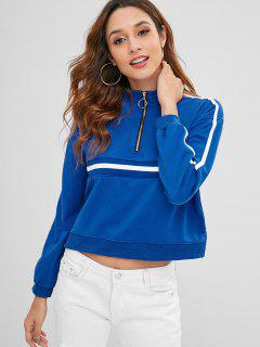 Side Slit Half Zip Sweatshirt - Blau