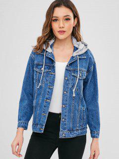 Button Up Hooded Denim Jacket - Denim Dark Blue L