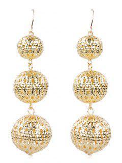 Alloy Balls Fish Hook Earrings - Gold