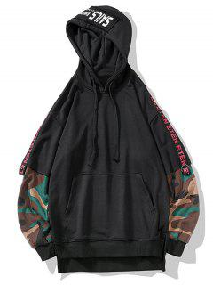Camo Sleeve False Two Piece Hoodie - Black Xl