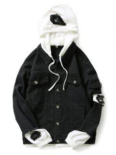 Casual Faux Pocket Ripped Letter Number Applique Hooded Jacket - Black M