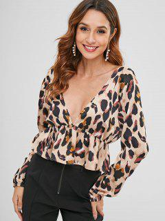 ZAFUL Low Cut Leopard Bluse - Leopard M