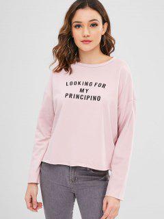 ZAFUL Drop Shoulder Graphic Terry Pullover Sweatshirt - Light Pink S