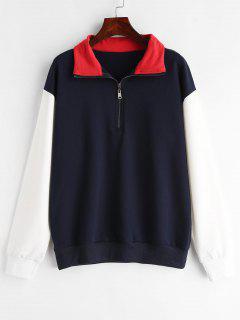 ZAFUL Color Block Zipped Collared Sweatshirt - Midnight Blue M