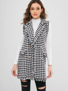 Double Breasted Houndstooth Waistcoat - Black L