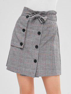 Double Breasted Plaid Mini Skirt - Multi S