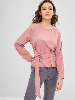 Solid Color Faux Belted Blouse - Pink M